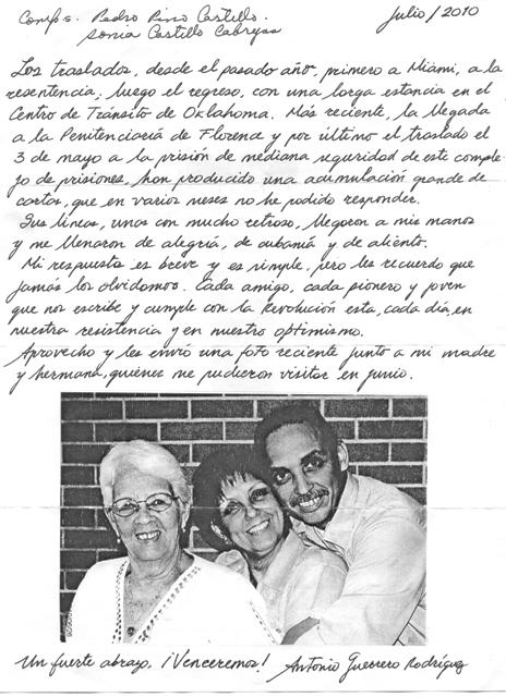 Carta de Tony al niño camagüeyano Ramón Pino Castillo